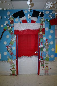 Turn your classroom door into a chimney for this Christmas theme door decoration! Put it up in early December, and you'll get comments until the holiday break! {No directions, just a picture - but how cute?!}