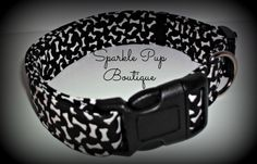 Black and White Fabric Bones Dog Collar / Adjustable by SparklePupBoutique on Etsy