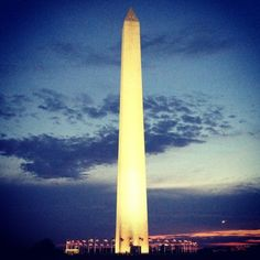 The Washington Monument obelisk in Washington, DC rises about 555 feet above the National Mall, offering visitors to the top views extending some 30 miles in any direction. Forgoing the elevator would require climbing 50 landings of stairs to the observation level -- almost 900 steps!