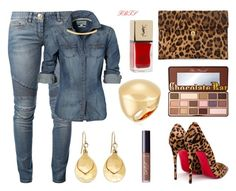 Denim Glam by flybeyondtheskies on Polyvore featuring Balmain, Christian Louboutin, Alexander McQueen, Trina Turk, Brooks Brothers, Too Faced Cosmetics, tarte and Lord & Taylor