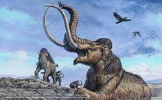 Columbian mammoth trapped in asphalt at La Brea Tar Pits in California