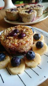 Gourmandises et Merveilles: Baked Oatmeal pomme-myrtille ou petits gâteaux aux flocons d'avoine