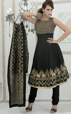 $113.5 Black Net Embroidered Anarkali Salwar Suit 23889