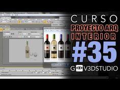 3ds max Proyecto Arquitectura Interior -35- Materiales Vray Botella vino y copas.
