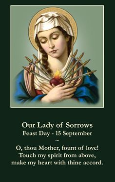 In honor of Our Lady of Sorrows, today we can offer up some little sacrifice without complaining. We can also think about each of the seven sorrows of Mary and thank her for her great love for us.