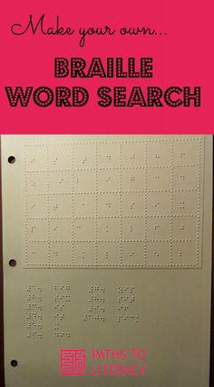 Braille Homework Sheets   L  Braille   Pinterest   Homework sheet     Make your own braille word search puzzle