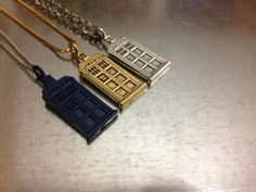 Doctor Who TARDIS Necklace. Geek that is totally chic in one of these three colors. I want one so badly. - SO #geek #doctorwho #jewelry #TARDIS #accesories