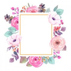 Flower Background Wallpaper, Flower Backgrounds, Fabric Wall Art, Floral Border, Floral Illustrations, Flower Frame, Watercolor Flowers, Wall Murals, Canvas Wall Art