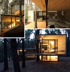 This minimalist modern cabin reverses these conventions, with board-formed concrete shaping each room and wooden planks kept to outdoor deck spaces – and the effect is surprisingly comfortable-looking