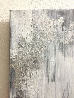 Items similar to small abstract painting gray silver leaf flakes white art small abstract painting on etsy - - Black And White Painting, White Art, Texture Painting On Canvas, Canvas Art, Oil Painting Abstract, Silver Leaf Painting, Light Grey Paint Colors, Warm Gray Paint, Popular Paint Colors