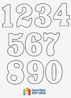 Moldes De Numeros Para Imprimir Para Alfabetizacao E Colorir Pictures Alphabet Templates, Number Templates, Number Stencils, Printable Numbers, Felt Patterns, Alphabet And Numbers, Hand Lettering, Coloring Pages, Clip Art