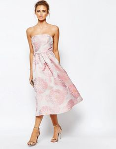 Image 4 of True Decadence Bandeau Full Prom Midi Dress In Floral Jacquard