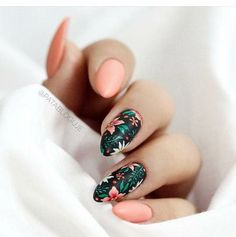 Nail art is a very popular trend these days and every woman you meet seems to have beautiful nails. It used to be that women would just go get a manicure or pedicure to get their nails trimmed and shaped with just a few coats of plain nail polish. Stylish Nails, Trendy Nails, Tropical Nail Art, Tropical Flower Nails, Tropical Nail Designs, Cute Summer Nail Designs, Floral Nail Art, Nail Art Flowers, Nagel Gel
