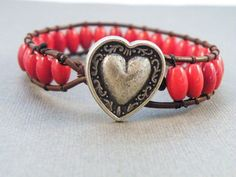 Boho Red Barrel Leather Wrap Bracelet with Heart Button/ Cardinal Red/ Boho Chic/ Free Shipping