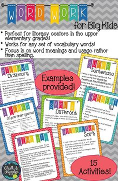 Word Work activities that work for any vocabulary words. Age appropriate, challenging word work for intermediate grades... These activities are perfect word work for use with Daily 5 or in literacy centers for upper elementary students.