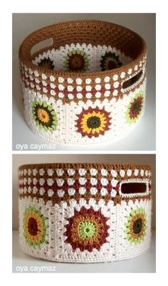 The most beautiful Crochet basket and straw models Crochet Bowl, Crochet Basket Pattern, Knit Basket, Crochet Diy, Crochet Pillow, Crochet Crafts, Crochet Doilies, Crochet Patterns, Diy Crafts