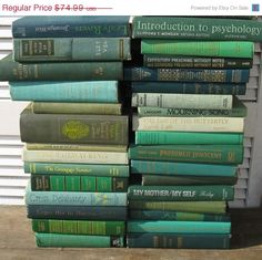 on sale green book stack one yard high vintage by rivertownvintage