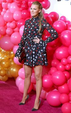 Blake Lively in a heart-print dress