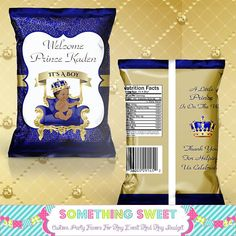 Royal Blue and Gold Prince Baby Shower Chip Bag Baby Shower Candy Table, Baby Shower Treats, Baby Shower Party Favors, Baby Shower Parties, Baby Boy Shower, Prince Birthday Party, Prince Party, Royalty Baby Shower Theme, Royal Baby Showers