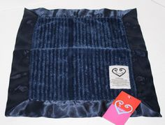 """My Blankee Navy Blue baby Security Blanket New Chenille White Satin 14"""" NWT Rare #MyBlankee"""