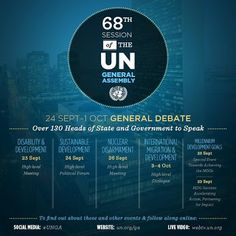 """""""UN Week"""" is here!  What issues will be on the agenda of the more than 130 world leaders expected to attend? This infographic features a few of the biggest events. Get all the details here and find out what is scheduled for Monday here: http://j.mp/15NlofW"""
