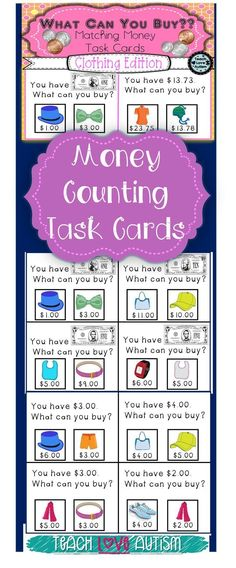 This is a set of 120 task cards & are a great way to take the skills of using money and determining if you have enough to pay for an item and use it in the classroom! These are great for work task boxes, life skills, and even students learning money skill Learning Money, Student Learning, Teaching Math, Maths, Resource Room Teacher, Teacher Stuff, Life Skills Lessons, Math Lessons, Special Education Math