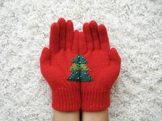 LIMITED Christmas Tree Gloves Red Gloves with Green by yastikizi, $35.00
