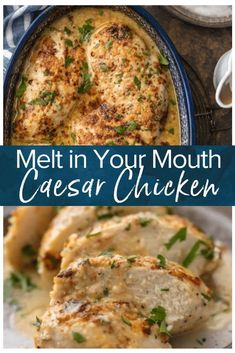 Caesar Chicken - Caesar Chicken is the perfect melt in your mouth chicken recipe! It's creamy, simple, and filled -Baked Caesar Chicken - Caesar Chicken is the perfect melt in your mouth chicken recipe! It's creamy, simple, and filled - Crock Pot Recipes, Best Chicken Recipes, Beef Recipes, Recipe Chicken, Chicken Recipes For Dinner, Potato Recipes, Best Dinner Recipes Ever, Best Chicken Ever, Cooking Recipes For Dinner