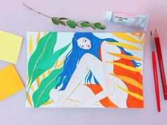 Brain-Gouached By Drawings with Tropical Vibes White Egret, Woman Illustration, Tropical Vibes, Gouache Painting, Woman Painting, Art Inspo, Amazing Art, Printmaking, Doodles