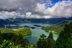 Lagoa das Sete Cidades, Azores, Portugal. Half blue, half green. His tears. Her tears.