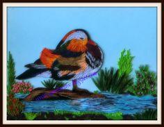 Anastasia (Annie) Wahalatantiri: Quilled Mandarin duck near water garden Quilling Cards, Paper Quilling, Quilling Animals, Mandarin Duck, Quilled Creations, Water Garden, Anastasia, Annie, Garden Design