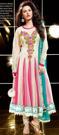 $104.2 Off white Faux Georgette Anarkali Salwar Kameez 24424