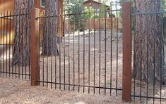 6ft-Ornamental-Iron-with-6x6-Redwood-Post