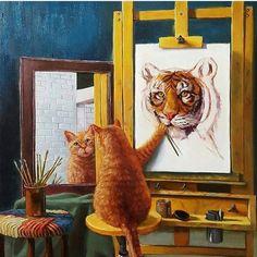 Oscar does his self portrait!