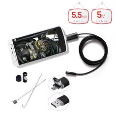 2 in 1 PC Android Endoscope Micro OTG USB 5.5MM Lens 6 LED Waterproof Endoscopy Inspection Borescope Camera with 5M Length Cable