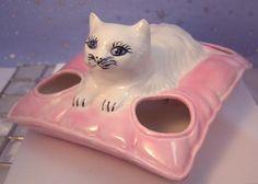 Rare Vintage White PERSIAN CAT LIPSTICK HOLDER, Vanity, Decorative, Unmarked | eBay