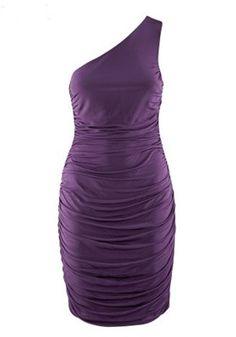 Purple Asymmetric Shoulder Sleeveless Mini Skinny Synthetic Fiber Dress in black white and purple