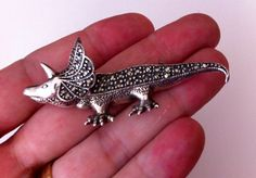 Vintage Triceratops Brooch, Silver Colored with Marcasite, Rare and wonderful Dinosaur Pin - pinned by pin4etsy.com