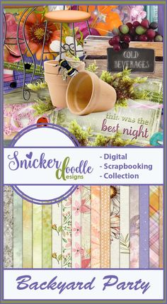 Backyard party by Snickerdoodle Designs  is a fun collection full of gorgeous summer flowers, fun summertime signs, lights and party game elements. This gorgeous kit provides you everything you need to scrap your summertime parties and events.  It's on sale for 30%-54% off!