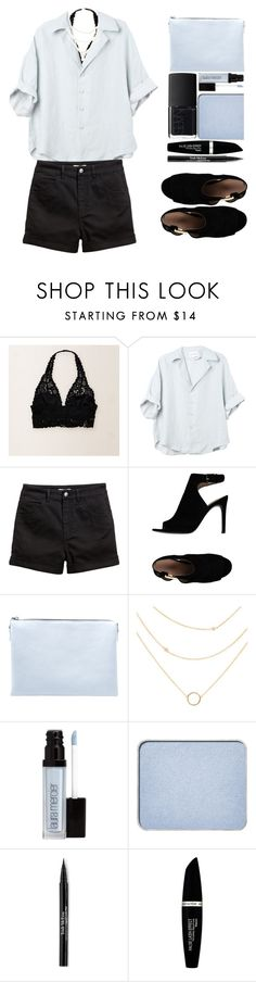 """Light Blues & Black Bralettes"" by jyellow-11 ❤ liked on Polyvore featuring Aerie, H&M, Tory Burch, MANGO, Laura Mercier, shu uemura, Trish McEvoy, Max Factor and NARS Cosmetics"