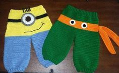 Crochet Crazy Character Monster Pants Newborn - 24 months (can be adapted easily for 2T-4T)