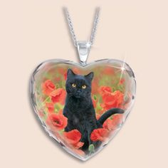 The Black Cat Crystal Heart Pendant - The Danbury Mint