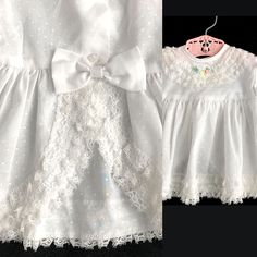 Excited to share this item from my shop: Vintage Size Newborn Dress, White Cotton Polka Dot and Ruffled Lace, Baby Girl Infant with Embroidery Baby Girl Wedding Dress, Wedding Dresses For Girls, Wedding Dress Trends, Designer Wedding Dresses, Girls Dresses, Flower Girl Dresses, Baby Wedding, Dress Girl, Vintage Baby Clothes