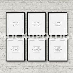 8x10 16x20 24x30 Set of Six Vertical DIGITAL Black by Mockupology