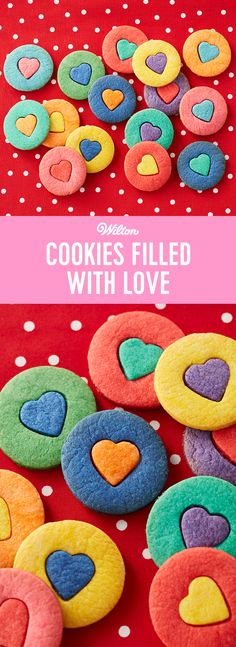 These cookies are literally filled with love! A fun project for kids to do in the kitchen, these Cookies Filled with Love are a fun project for Valentine's Day! Tint dough to match your occasion or change the inlay shape to bake cookies for a different holiday. #wiltoncakes #cookies #valentines #valentinesday #valentinesdaydessert #desserts