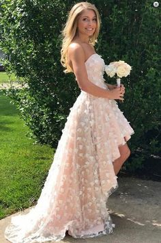 High Low Strapless Pearl Pink Lace Prom Dress