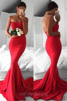 Top Trumpet/Mermaid Prom Dresses, Red Long Formal Dresses, Sweetheart Silk-like Satin Girls Party Gowns,  Ruffles Red Backless Evening Dresses