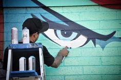 #MDMN painting the #carlsbadartwall  at #senorgrubbys by colorsinla