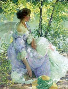 In the Garden.Richard Edward Miller (American, 1875-1943). Miller andFrederick Frieseke often met at Monet's home to paint, critique, and socialize. Miller readily adopted an aesthetic similar to that of Frieseke: wistful maidens relaxing in sun-flecked gardens painted with broken strokes in impressionist colors. Repeated diagonals of figures and furniture generally characterize the patterning of his canvases, a dynamic that strengthens their inherent introspection.