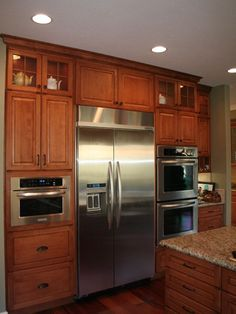 pantry refridgerator wall oven on one wall | wall cabinet with ... on